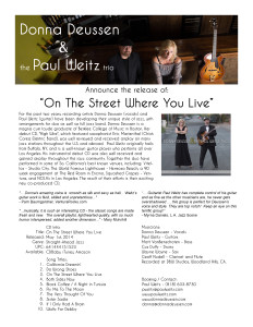 "Press Release ""On The Street Where You Live"